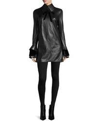 Ralph Lauren Collection Laverne Bell Sleeve Leather Dress Black