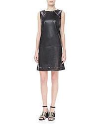 Escada Dot Cutout Leather Dress Black