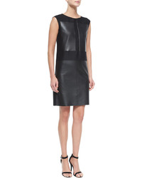 Leather woolsilk combo sheath dress medium 441186
