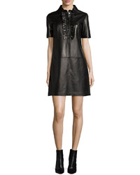 Michael Kors Michl Kors Collection Short Sleeve Ruffle Front Leather Dress Black
