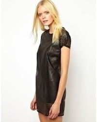 Muu Baa Muubaa Folye Raglan Dress In Leather And Mesh