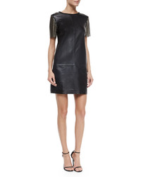 Nicole Miller Artelier Short Sleeve Leather Sheath Dress Black