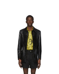 Sankuanz Black Leather Distressed Jacket