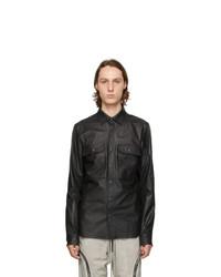 Rick Owens Black Leather Outershirt Jacket