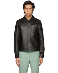 AMI Alexandre Mattiussi Black Leather Overshirt Jacket