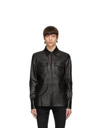 Amiri Black Leather Shirt Jacket