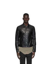 Rick Owens Black Leather Worker Jacket