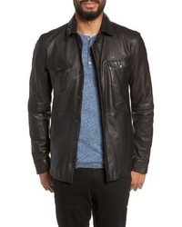 John Varvatos Star USA Oiled Lambskin Leather Shirt Jacket