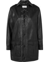 Saint Laurent Lace Up Textured Leather Mini Dress