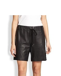10 Crosby Derek Lam Leather Drawstring Shorts Black