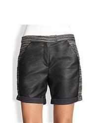 ADDISON Tweed Faux Leather Paneled Shorts Black Combo
