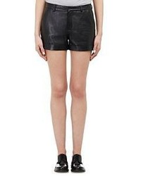 Barneys New York Leather Shorts Black