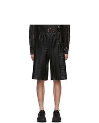 Comme Des Garcons Homme Plus Black Croc Shorts