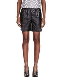 Maiyet Black Leather Straight Shorts