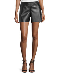 Costume national mid rise leather shorts black medium 582995