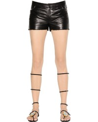 Drome Nappa Leather Shorts With Raw Cut Hem