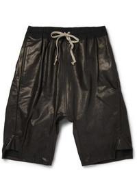 Rick Owens Drop Crotch Leather Shorts