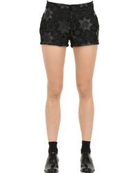 Es'givien Faux Leather Macram Lace Shorts