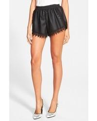 Glamorous Faux Leather Lace Trim Shorts