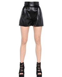 Faux Leather Shorts With Hand Patches