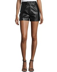 3.1 Phillip Lim Lamb Leather High Rise Shorts Black