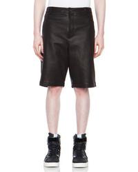 Alexander Wang Lambskin Leather Shorts In Black