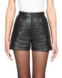 Saint Laurent Leather High Waist Shorts