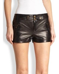 RED Valentino Leather Moto Mini Shorts