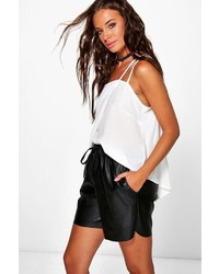 Boohoo Linda Faux Leather Longer Length Shorts