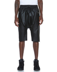 Lr Leather Drop Shorts In Black