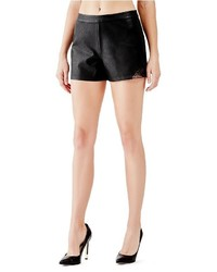 GUESS Mid Rise Embroidered Faux Leather Shorts