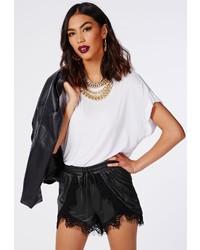 Missguided Daizy Eyelash Lace Hem Faux Leather Runner Shorts Black
