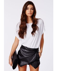 Missguided Kalaya Faux Leather Skort In Black