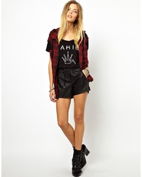 Noisy May Faux Leather Shorts