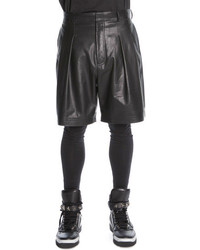 Givenchy Pleated Leather Shorts Black