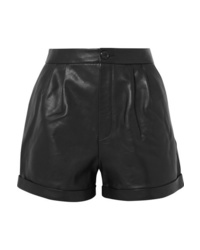 Frame Pleated Leather Shorts