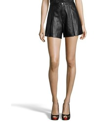 Rebecca Minkoff Black Leather Mina Box Pleated Shorts