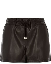 River Island Black Leather Look Runner Shorts
