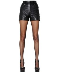 Saint Laurent High Waisted Nappa Leather Shorts