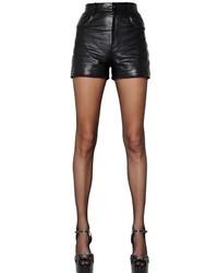 Saint Laurent High Waisted Nappa Leather Shorts