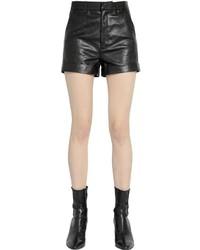 Saint laurent high waisted nappa leather shorts medium 831065