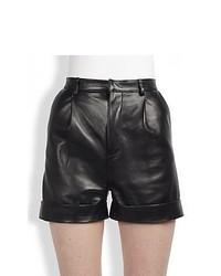 Saint Laurent Single Pleat Leather Shorts Black