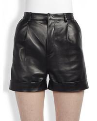 Saint Laurent Single Pleat Leather Shorts