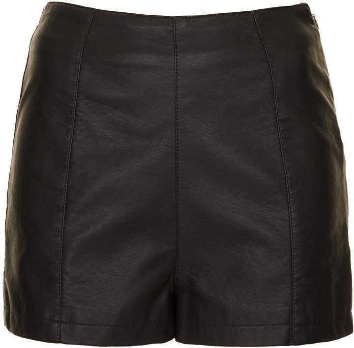 7734a1e51d4 ... Topshop Petite Leather Look Shorts ...