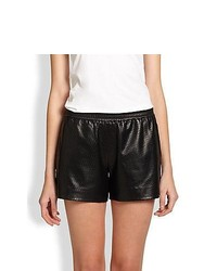 Vince Perforated Leather Boxer Shorts Black