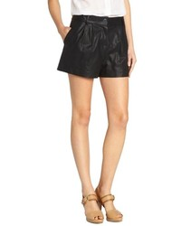 Wyatt Red Pleated Faux Leather Shorts