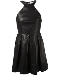 Black Leather Skater Dress