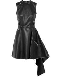 Alexander McQueen Asymmetric Textured Leather Mini Dress