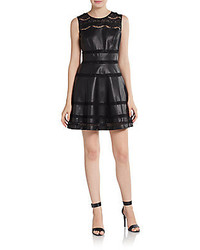 Faux leather lace fit and flare dress medium 127848