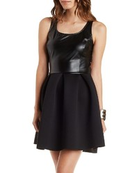 Charlotte Russe Faux Leather Scuba Knit Skater Dress